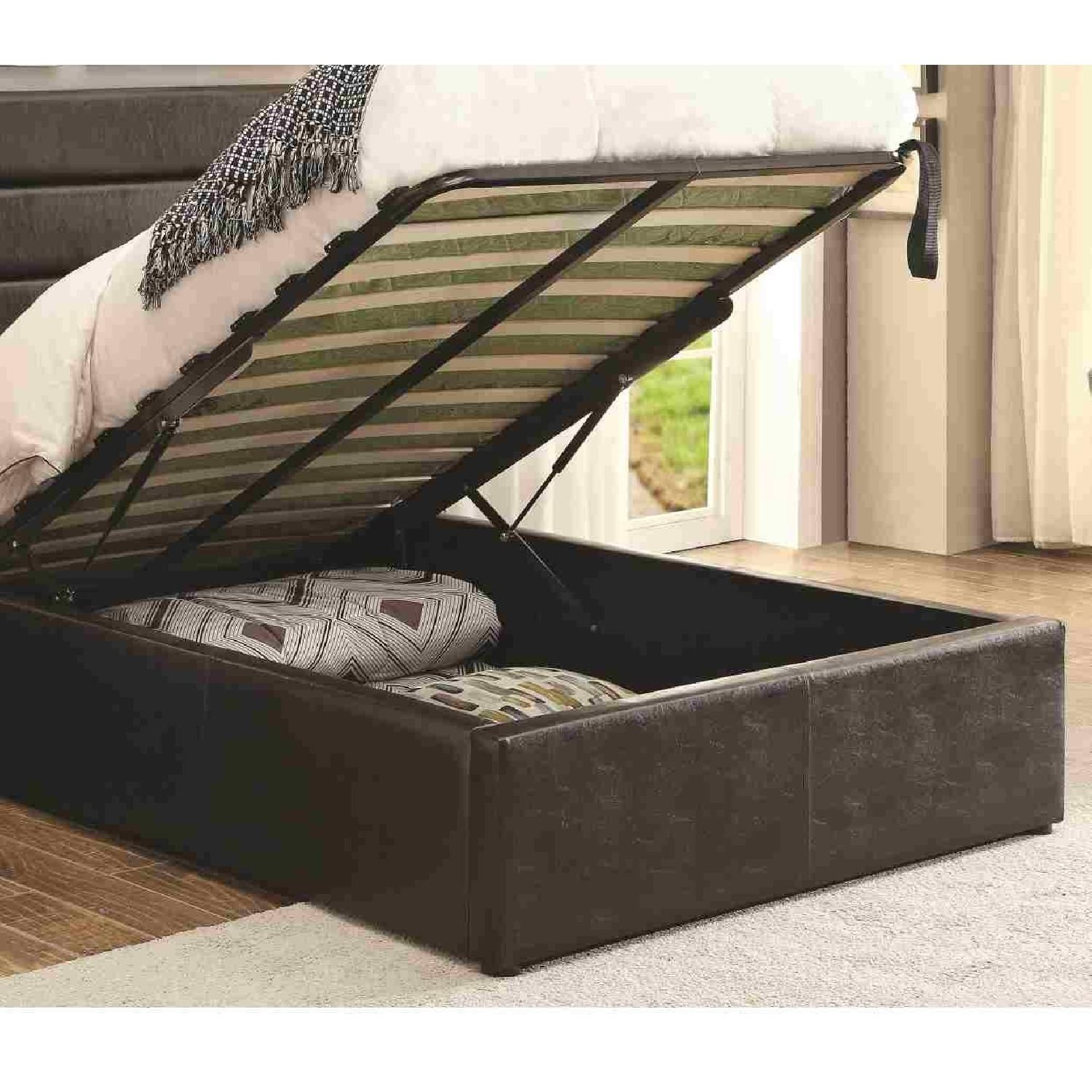 Modern Twin Size Lift Up Storage Platform Bed Upholstered In Black