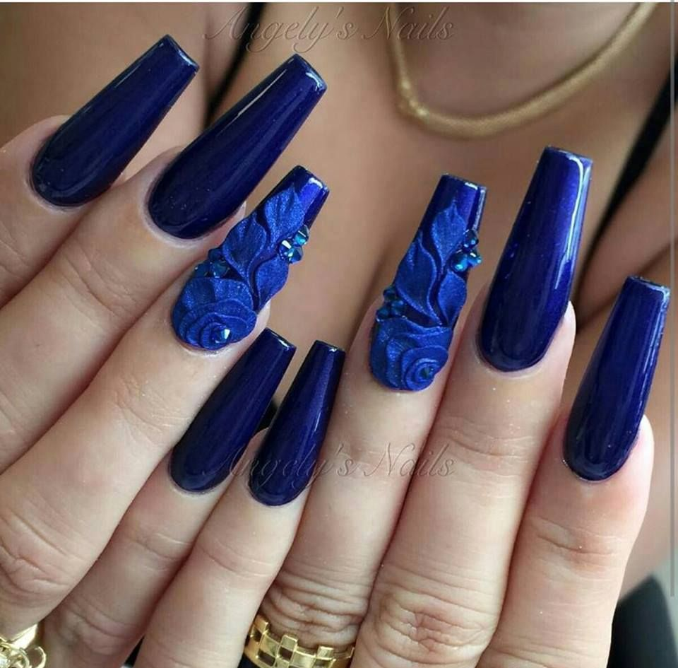 3d Navy Blue Coffin Nails Blue Gel Nails Blue Nails Blue