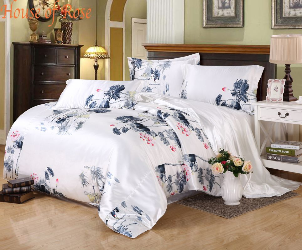 Captivating Gorgeous Chinese Painting Silk Bedding Set 4pc 30%Mulberry Silk Luxury  Bedding Bedcover Bedclothes Bedding