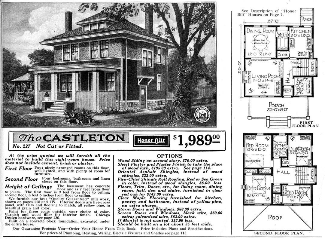 1900 sears homes and plans american foursquare home for Square house design