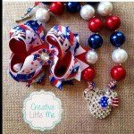 • Instagram: Red, White, & Blue USA handmade bow and chunky necklace set.