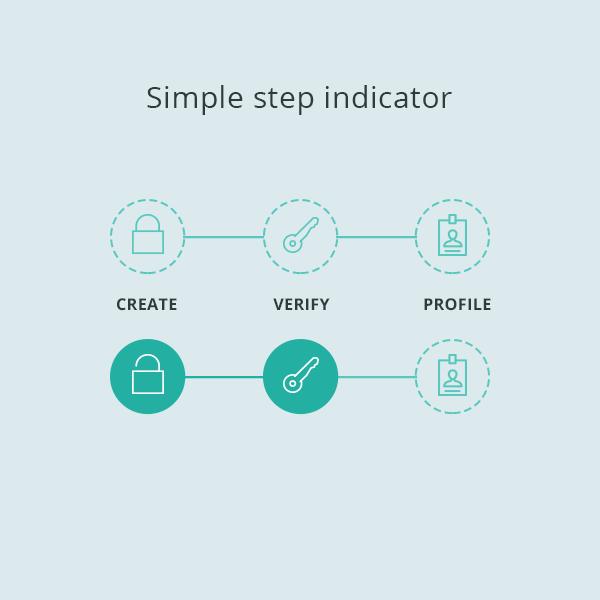 Flat Progress Step Indicator On Behance Progress Bar Mobile Web Design Web Design