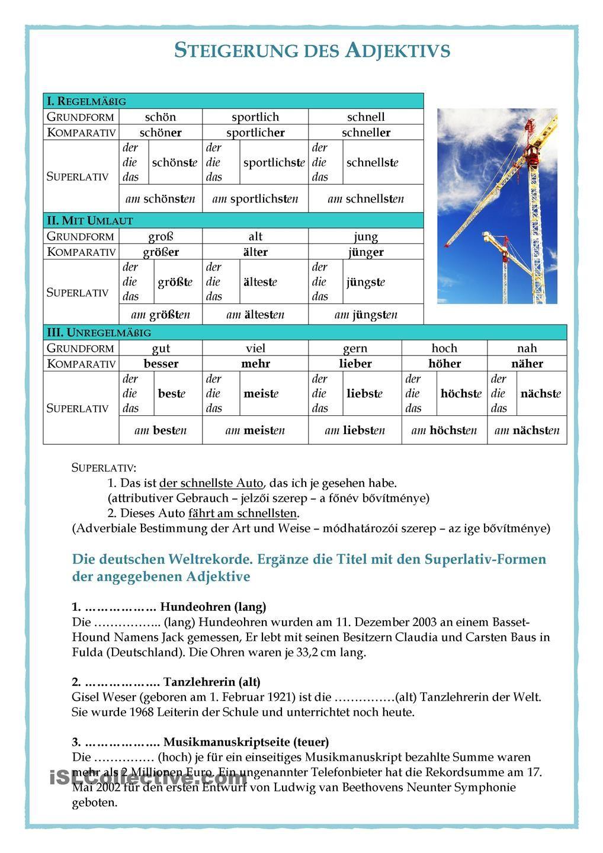 Steidgerungstufe von Adjektiven | Learn german, German language and ...