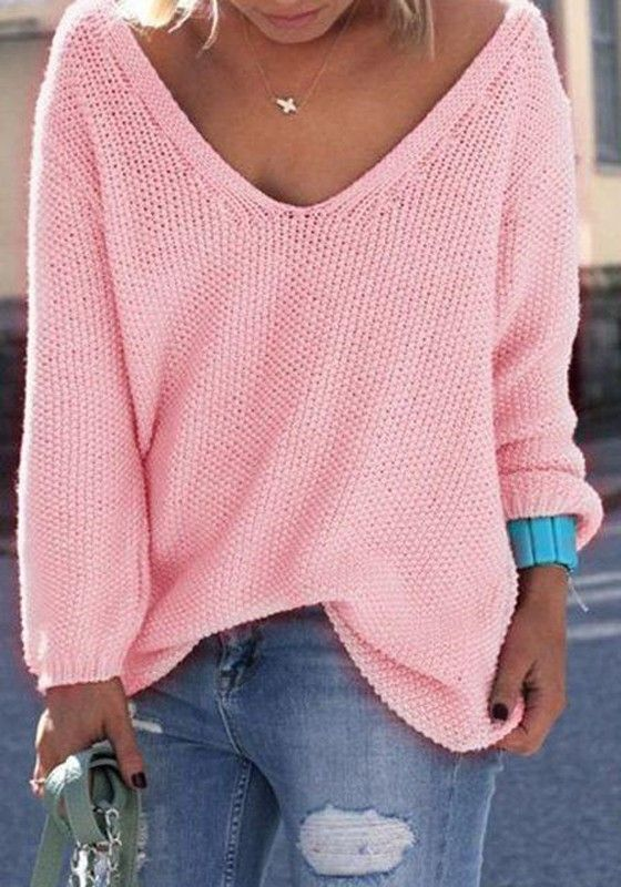 Pink Plain V Neck Long Sleeve Loose Fashion Pullover Sweater Women Sweaters Winter Pink Knit Sweater Knitted Pullover Sweaters