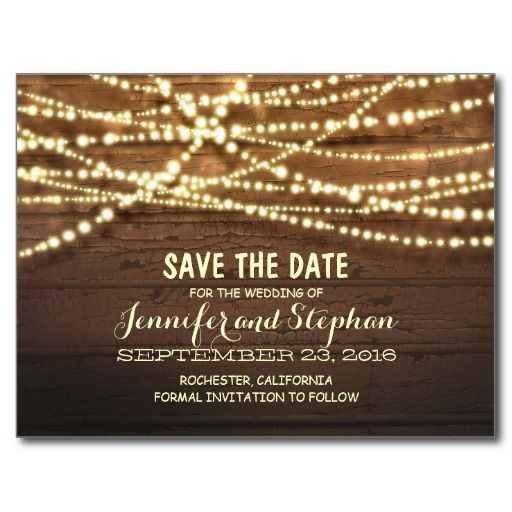 romantic string lights rustic wood save the date announcement postcard