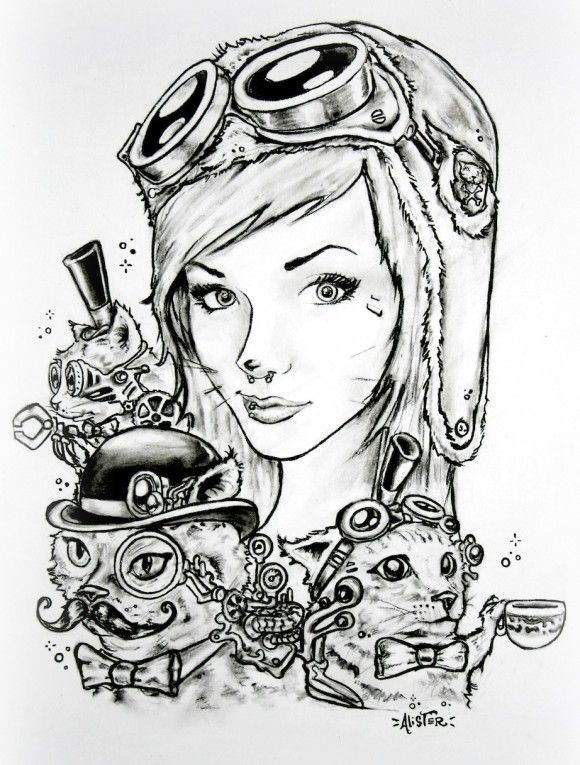 "IM A MACHINIST - The Imagination of Alister Dippner ""steampunk kitty teaparty"" imamachinist.com ($20.00)"