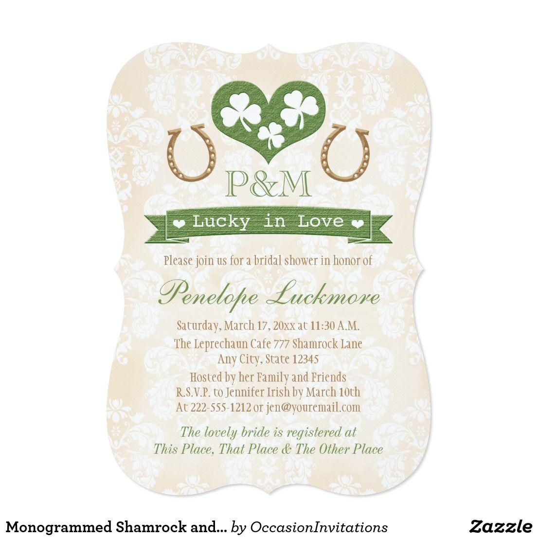Monogrammed Shamrock And Horseshoes Bridal Shower Card Bridal