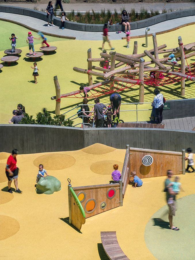 Mountain Lake Playground | San Francisco, CA, USA | Bohlin Cywinski Jackson #landscapearchitecture #playground #colours #color #yellow #green #red #blue #fun #learning #children #kids