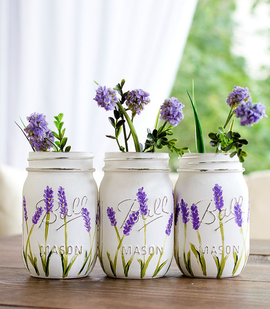 Painted Lavender Flower Mason Jars Painted And Distressed Mason Jars How To Paint Lavender Flowers Mason Jar Flowers Mason Jar Crafts Diy Mason Jar Projects