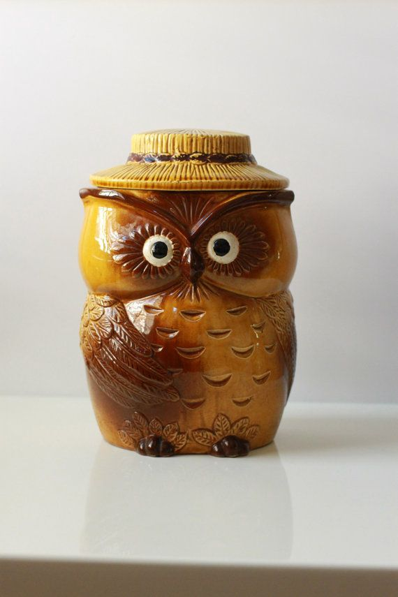 Vintage Owl Cookie Jar by TheArbitrarium on Etsy