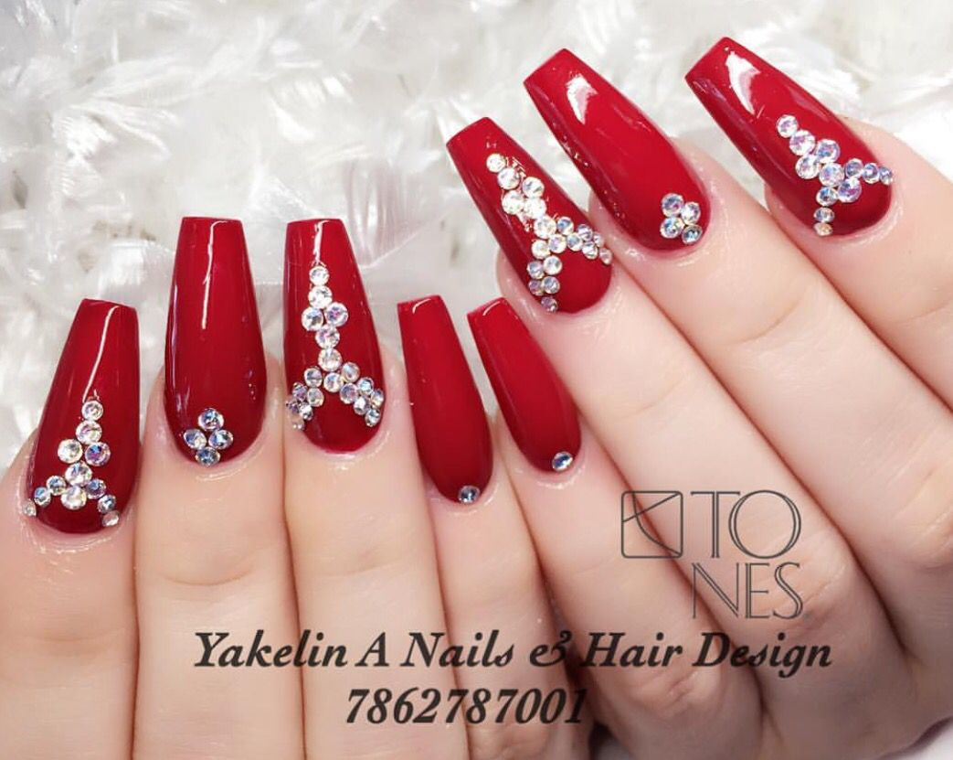 Glamorous Red Acrylic Nails Red Acrylic Nails Prom Nails Red Elegant Nails