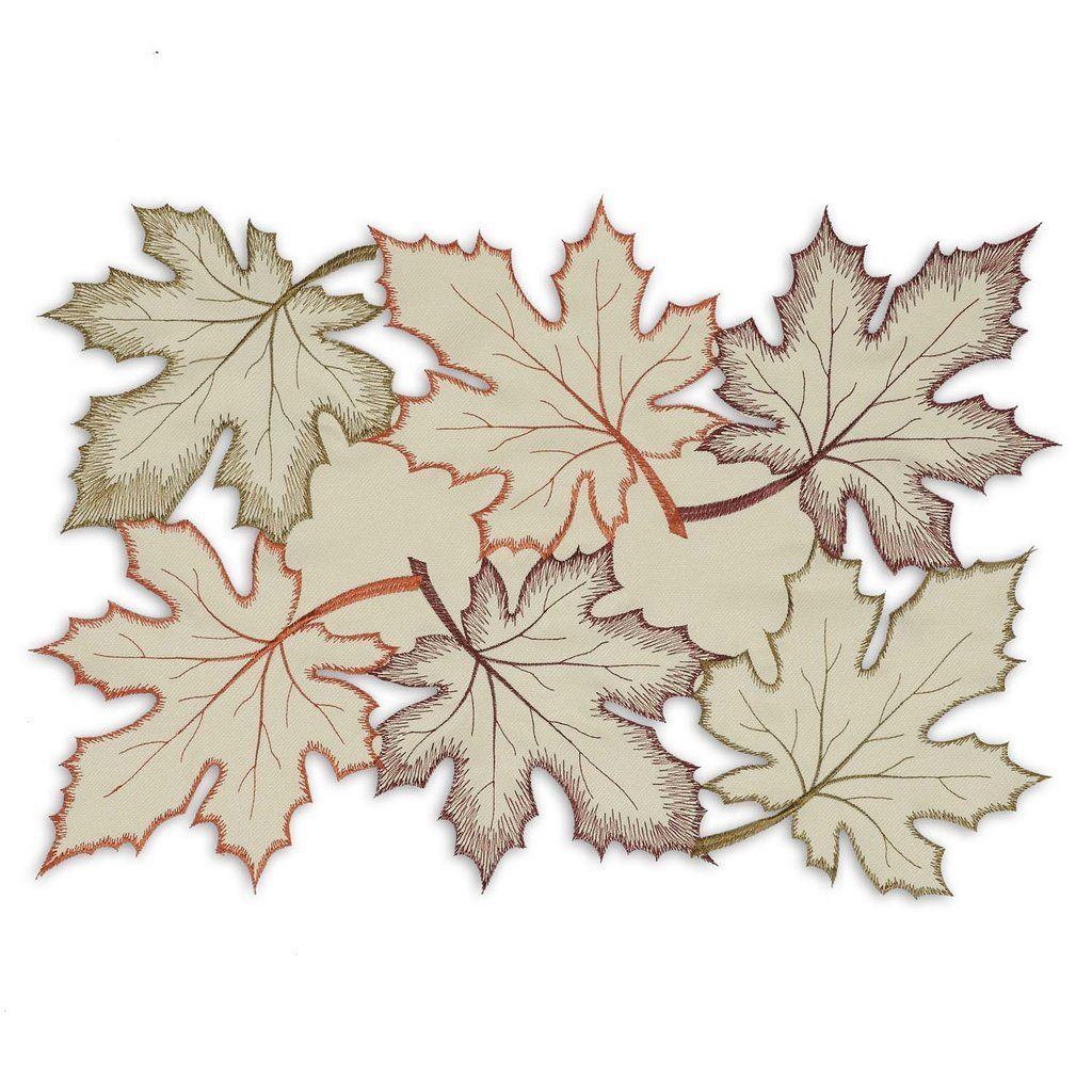 Maple Leaves Embroidered Placemats Set Of 4 Design Imports Wholesale Home Decor Placemats