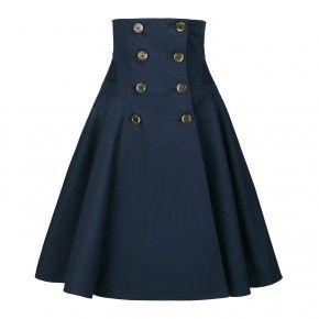 Work Skirt navy | Mode in 2019 | Vestidos, Saias bordadas ...