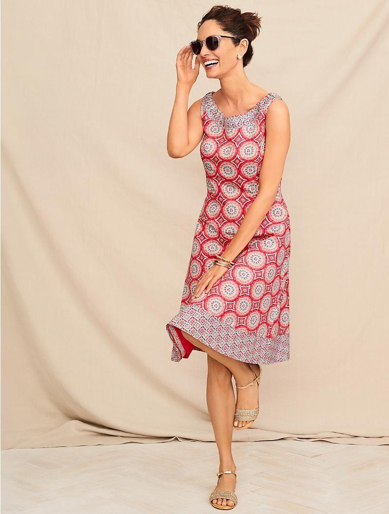 Mixed Geo Print Fit And Flare Dress Talbots Simple Summer Dresses Batik Dress Modern Flare Dress Casual [ 1057 x 800 Pixel ]