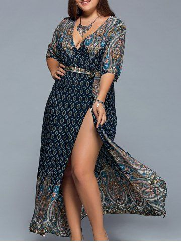 2c44a8f1d0a Plus Size Boho Print Flowy Beach Wrap Maxi Dress