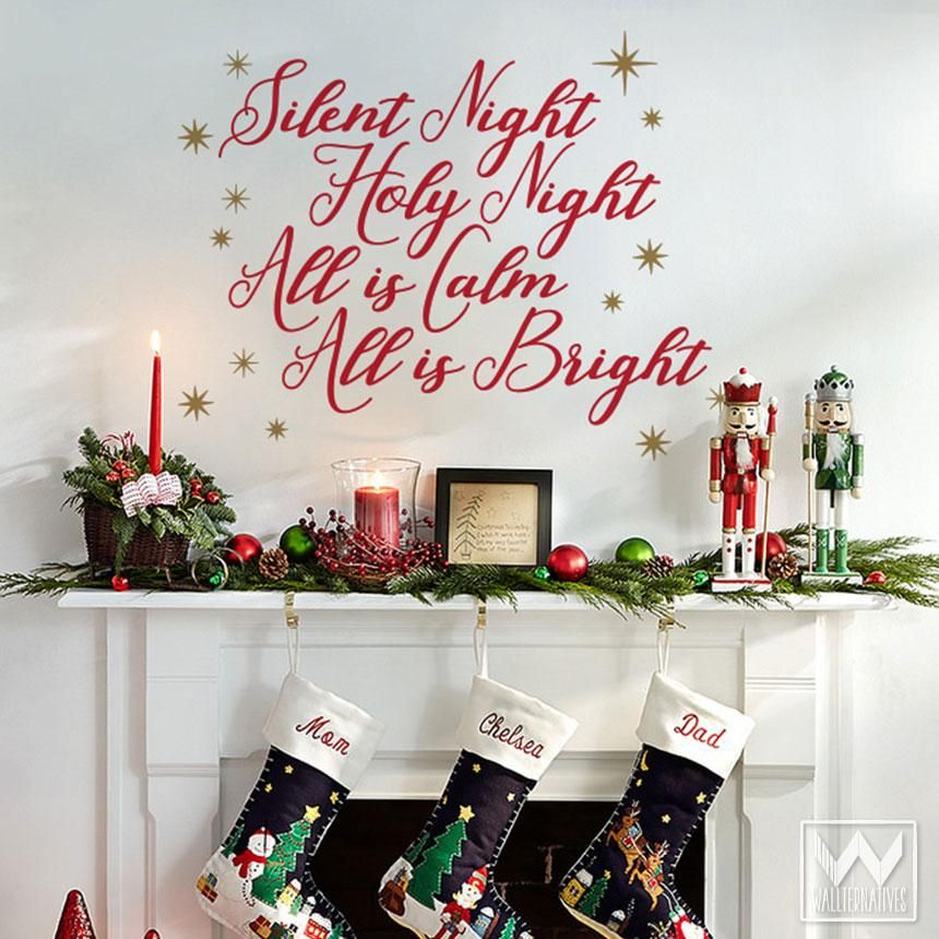 Silent Night Quote Vinyl Wall Decal In 2020 Christmas Wall Stickers Christmas Wall Decal Christmas Wall Decals Holidays