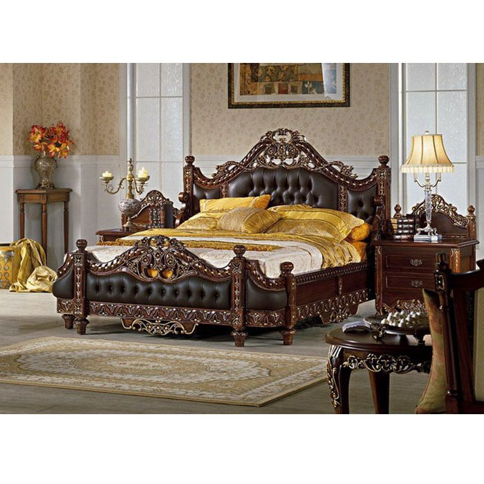 Bedroom Set Carving Upholstered