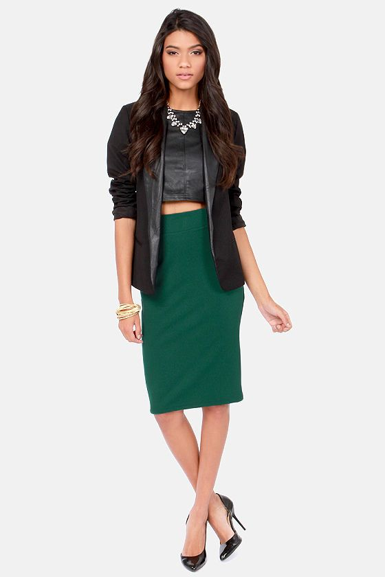 Cutting Class Hunter Green Pencil Skirt | Green pencil skirts ...