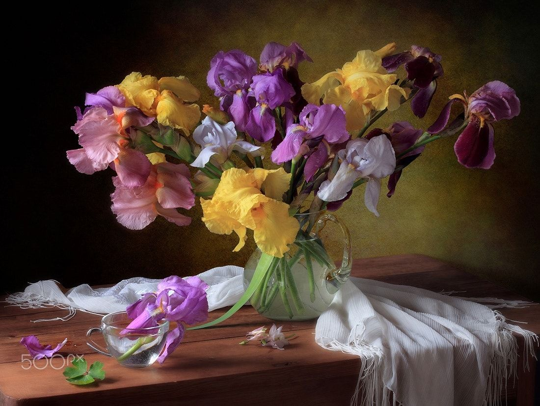 With a bouquet of irises - null