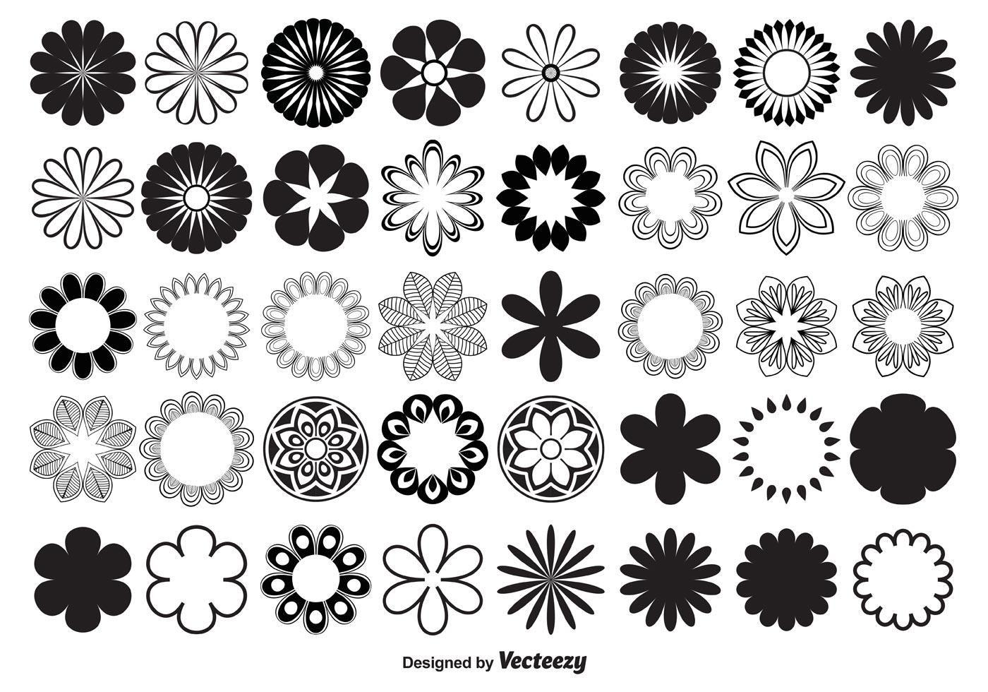 Vector Flower Shapes Desenhos de flores, Logotipo de flor