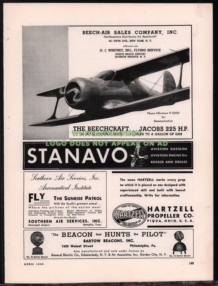 1936 BEECHCRAFT Model 17 Staggerwing Biplane Aircraft w/Jacobs 225hp