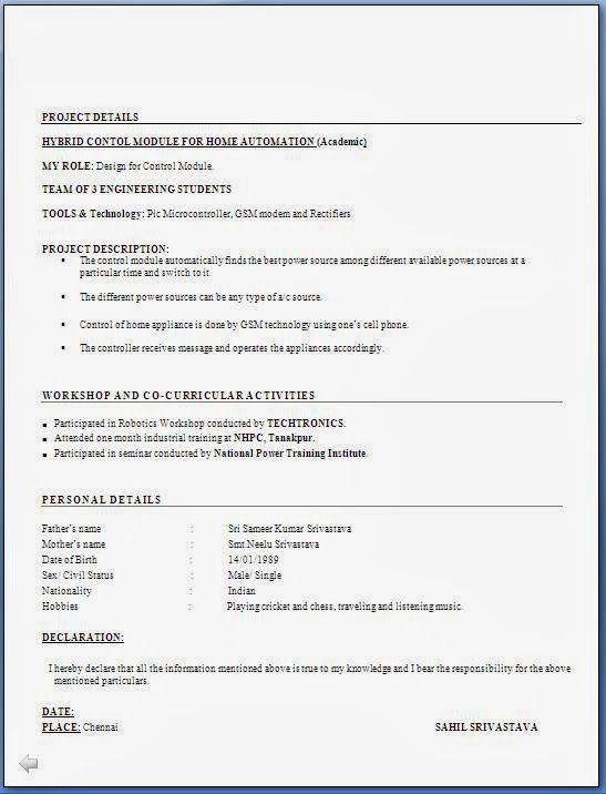 freshers resume format word document download resume in ms word