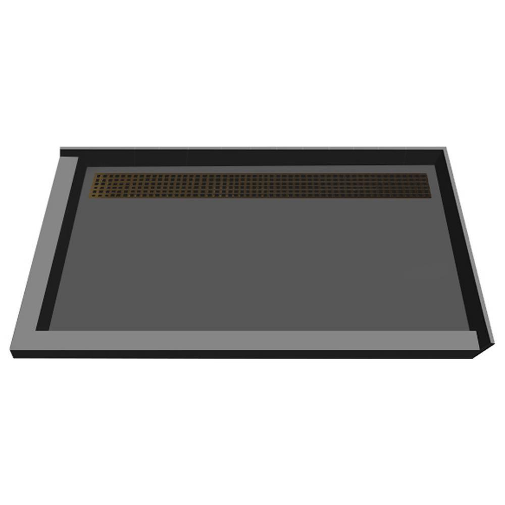 Tile Redi 34 In X 48 In Double Threshold Shower Base In Gray