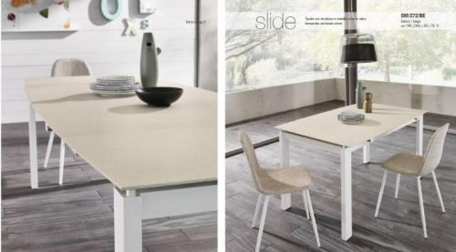Tavolo Stones ~ Tavolo 90x140 all.240 stones slide bianco beige om272be tavoli e