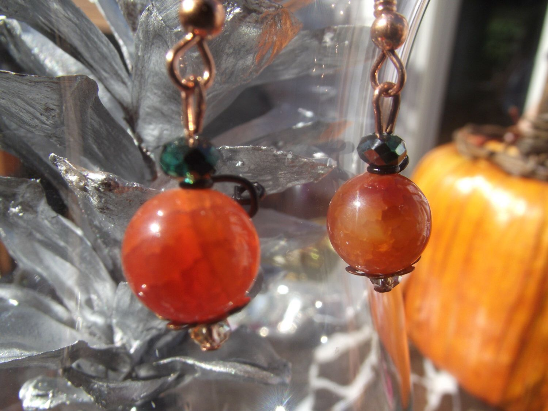 Pumpkin Earrings/ Dangle earrings/ Drop earrings/ Halloween earrings/ Fire agate dyed Amber earrings  by TurtleTimeBead on Etsy https://www.etsy.com/listing/162835521/pumpkin-earrings-dangle-earrings-drop