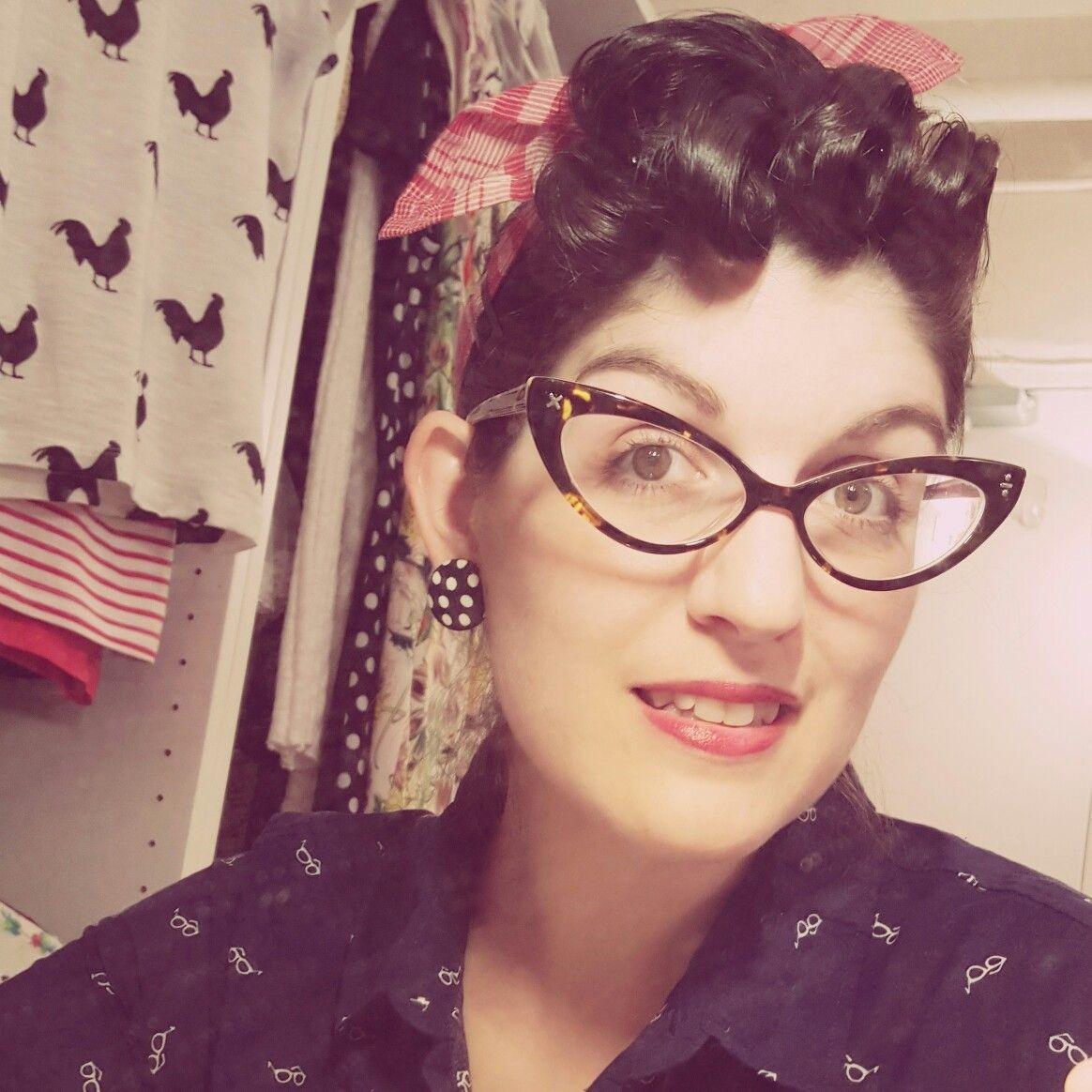 Rockabilly Pin Curl Bangs With Bandana. Cateye Glasses