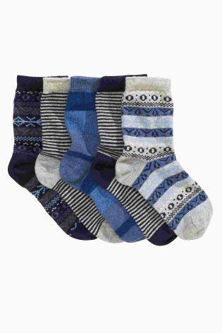 Buy Five Pack Navy And Grey Fairisle Pattern Socks (Older Boys ...
