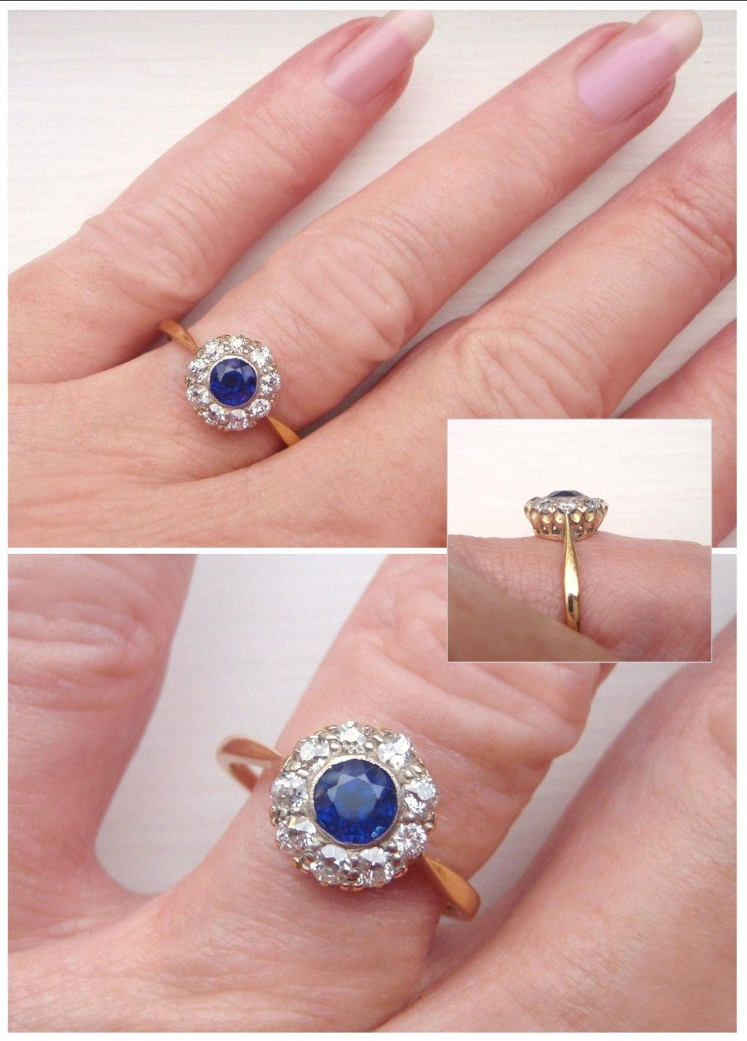 Vintage Edwardian to Art Deco Sapphire & Diamond Flower Cluster ...