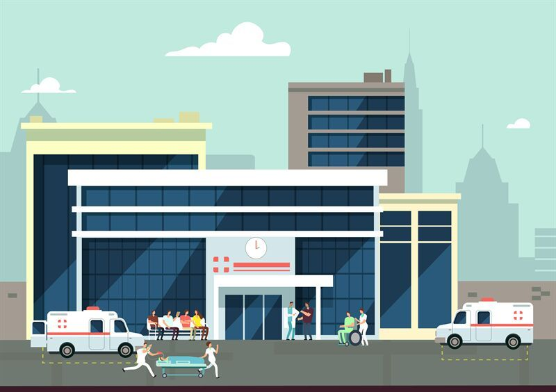 Accident and emergency hospital exterior with doctors and