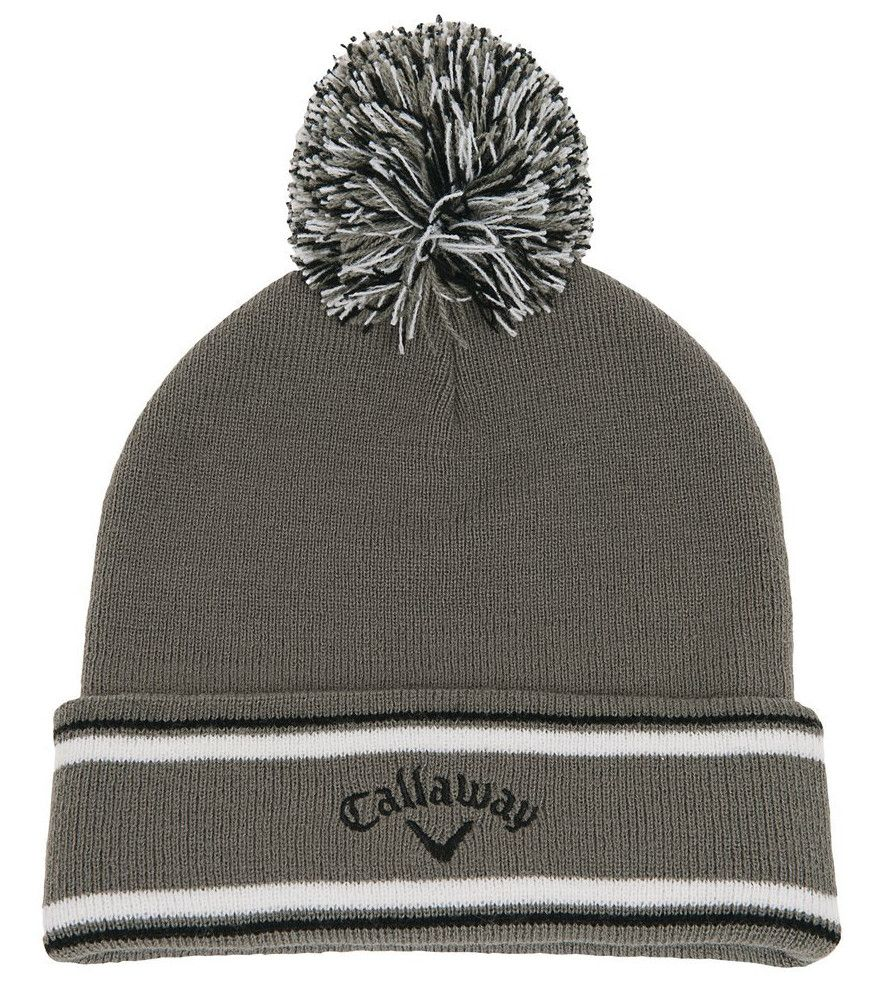 41c84dde1c2 The one size fits all design on this mens pom pom golf beanie hat by  Callaway ensures you enjoy a nice cozy custom fit!