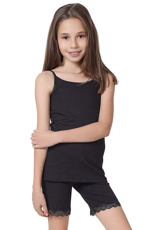 Girl's Cami Tank Tops (3-Pack) Organic Cotton Spandex Undershirts -  Adjustable Spaghetti Straps - CW1879RHHSI | Tank top cami, Organic cotton  leggings, Cami tanks