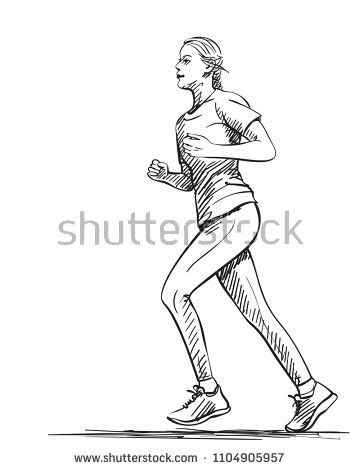 Sketch Of Running Young Woman Hand Drawn Vector Illustration Human Figure Sketches Human Sketch Posture Drawing