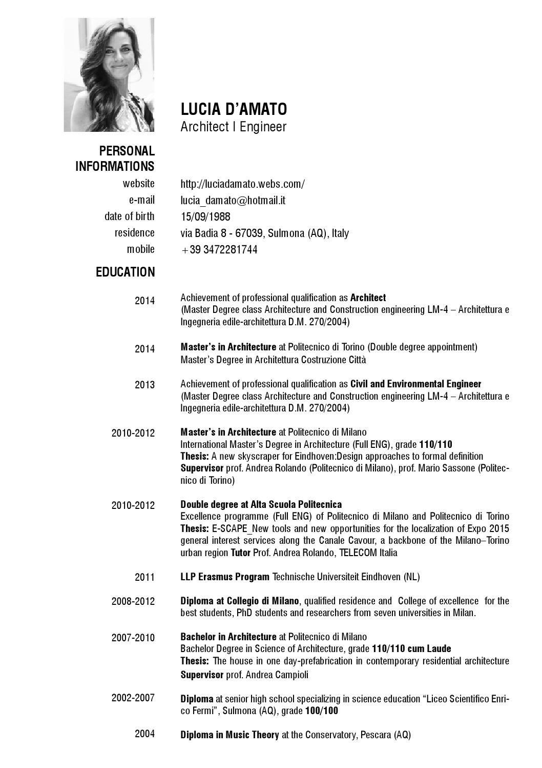 Curriculum Vitae And Academic Resume  Resume