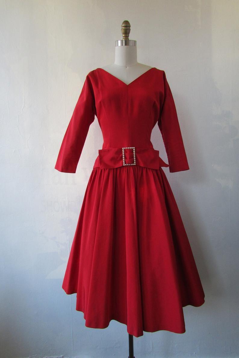 1950s Vintage Dress 1950s Red Cocktail Dress Vintage Party Etsy Red Cocktail Dress Vintage 1950s Dresses Vintage Dresses [ 1191 x 794 Pixel ]