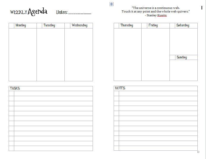 junior_weekontwopagesjpg 694×536 pixels Business Pinterest - agenda page template