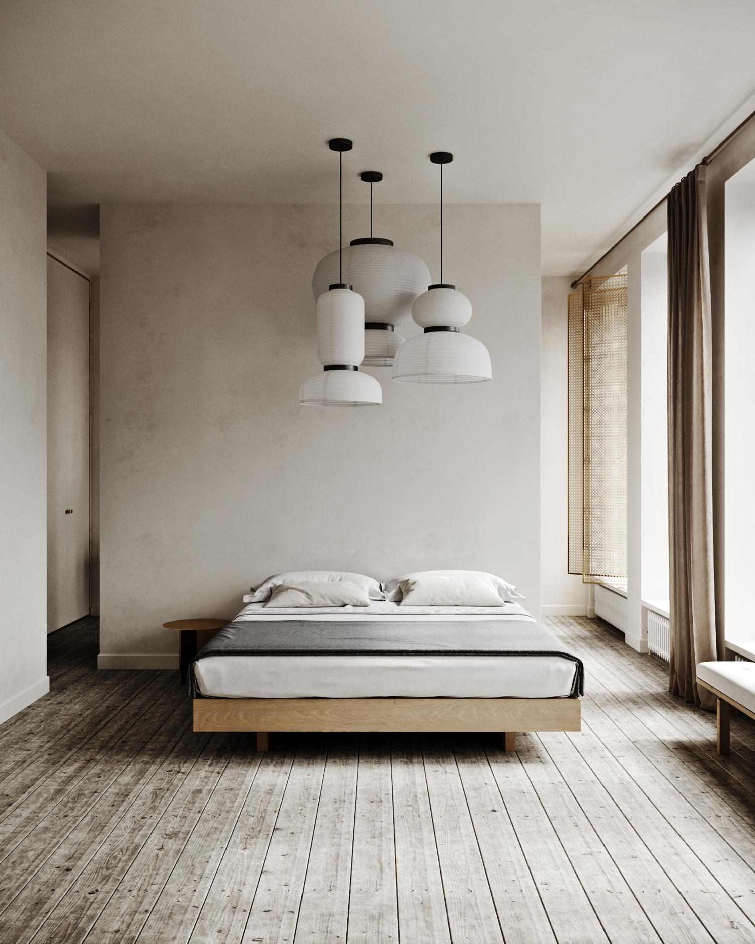 Sense by Dubrovska Studio - A minimalist style bedroom with an ...
