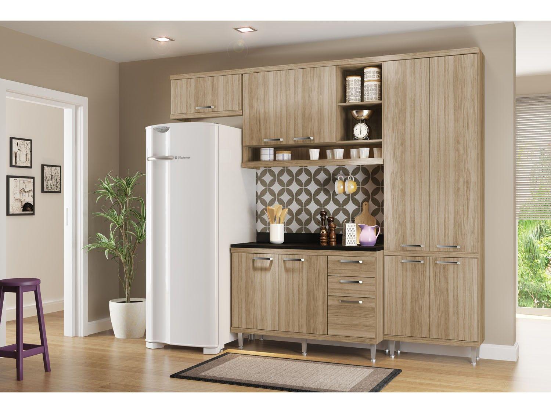 Cozinha Compacta Multim Veis Linea Sic Lia Com Balc O 9 Portas 3