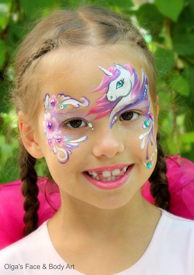 unicorn einhorn face painting halloween karneval pinterest einh rner kinderschminken. Black Bedroom Furniture Sets. Home Design Ideas