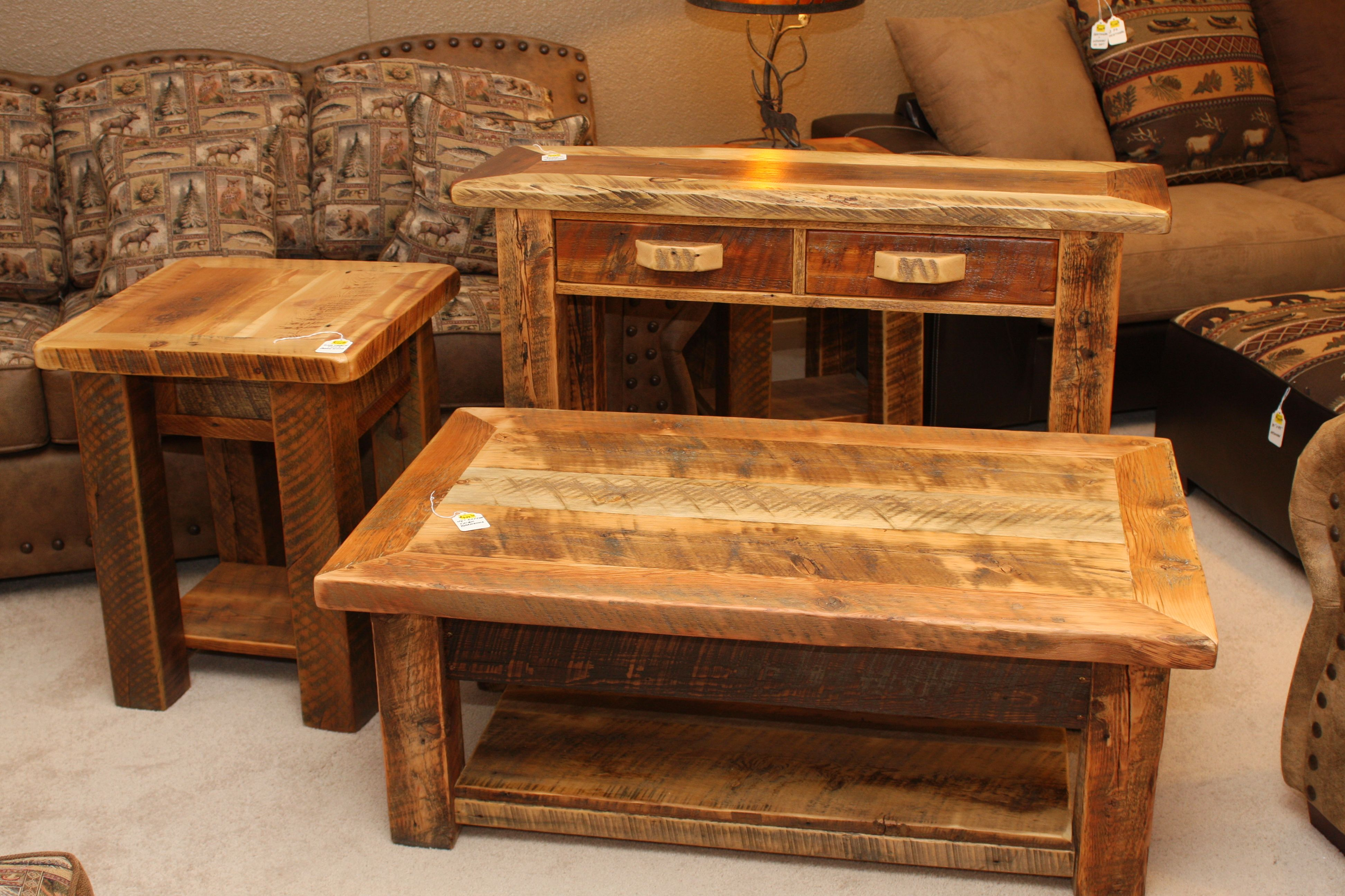 Rustic Trim Style Barnwood Living Room Set Coffee Table Sofa Table End Table Reclaimed Barnwood Furniture Living Room Table Sets Reclaimed Barn Wood [ 2592 x 3888 Pixel ]