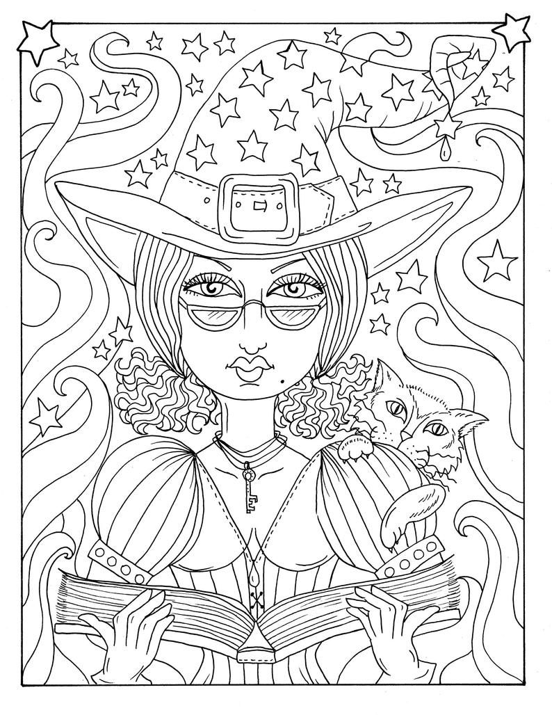 5 Pages Magiques Sorcieres Halloween Magique Coloriage Pages Etsy In 2020 Witch Coloring Pages Halloween Coloring Pages Coloring Pages