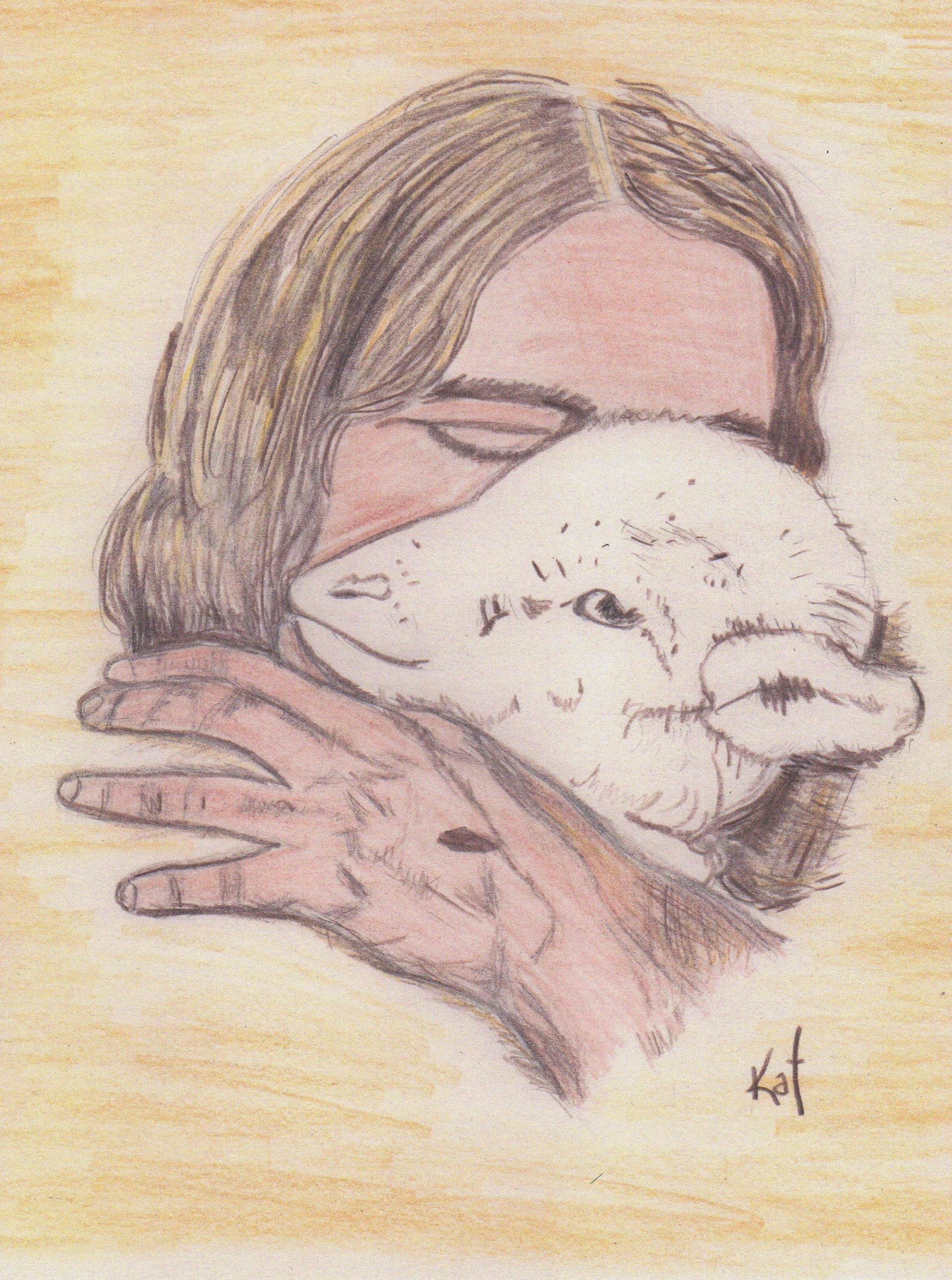 Jesus the Lamb of God colored pencil sketch by Kathy Ellinger, OFS