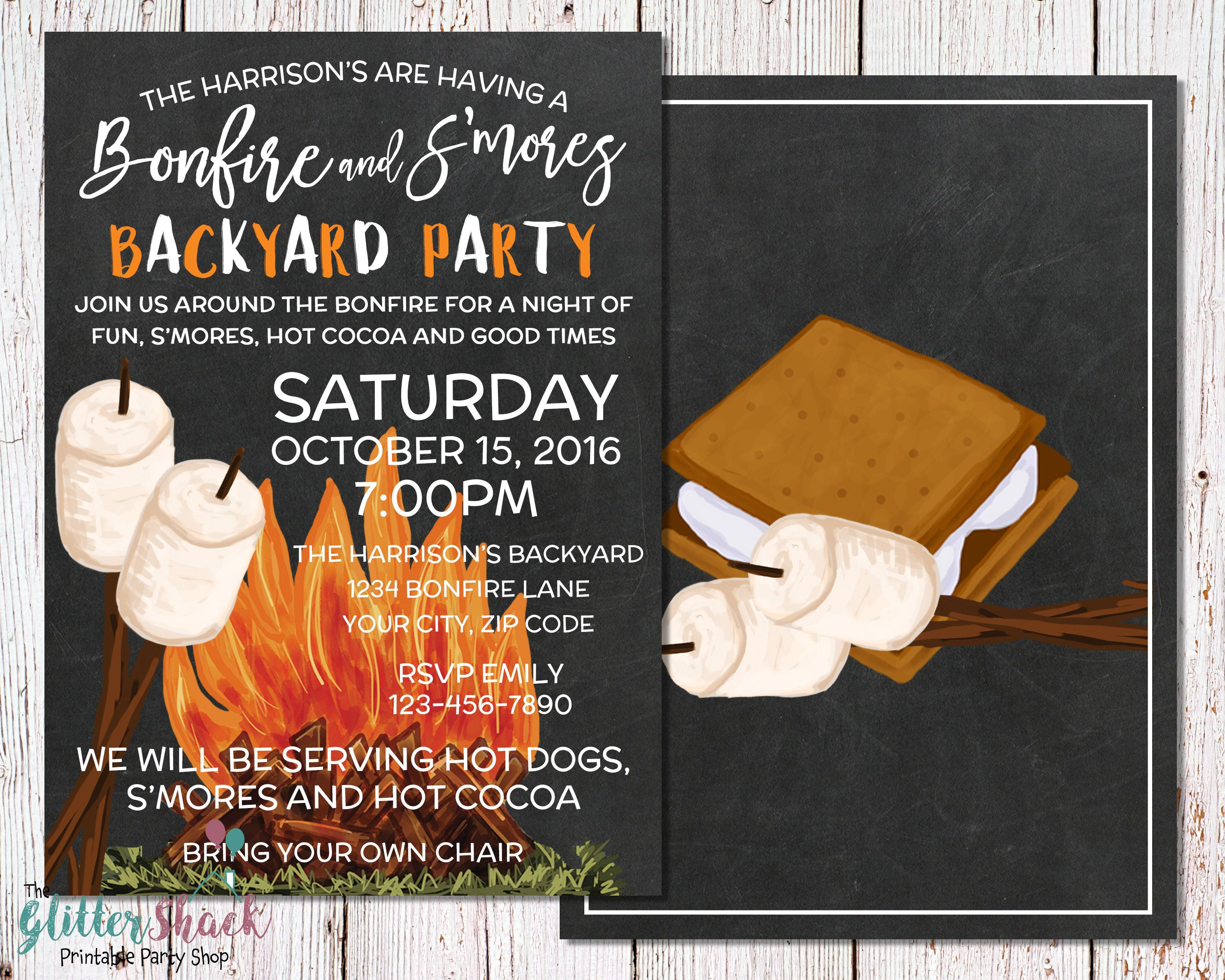 S\'mores & Bonfire Backyard Party Invitation For An Outdoor Party ...