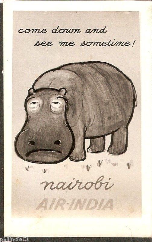 Air India Nairobi Hippo Poster