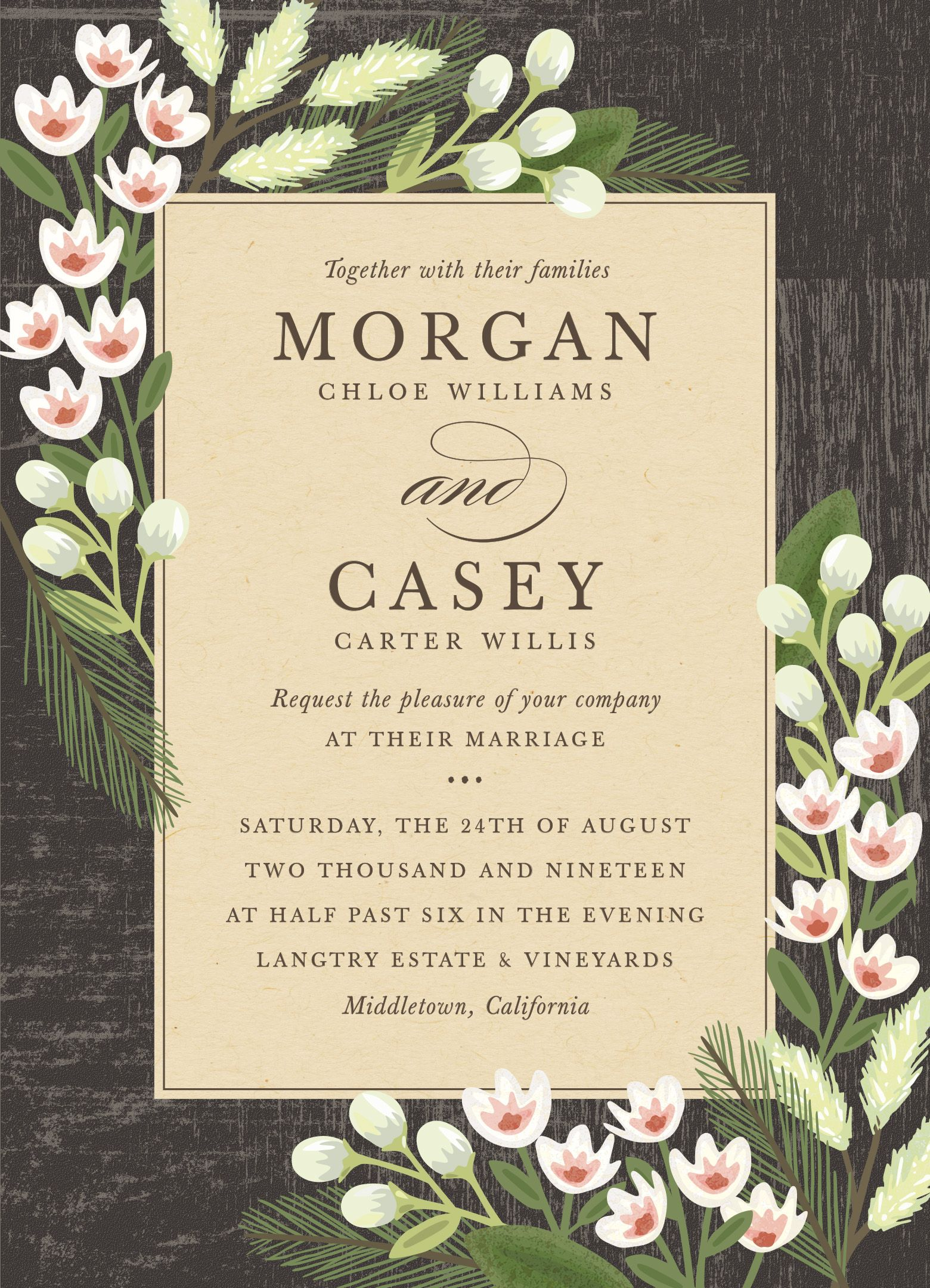 rustic garden floral wedding invitation design by minted artist