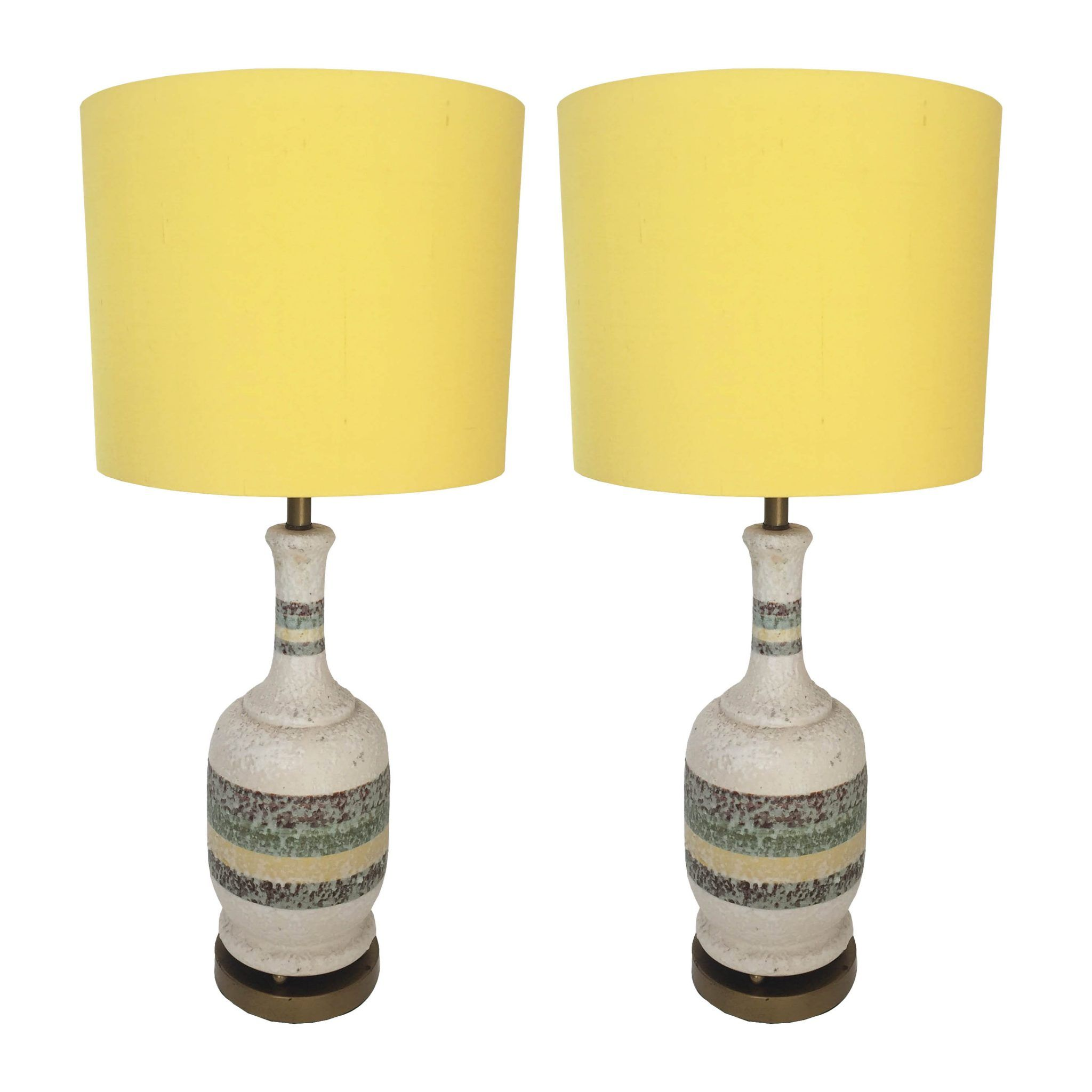 Pair Of Mid Century American Vintage Ceramic And Brass Table Lamps