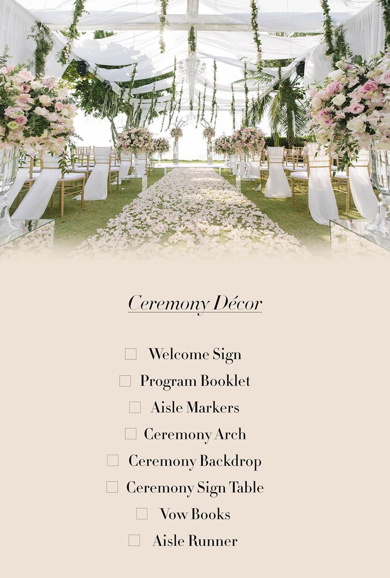 Every Bride S Must Have Wedding Details And Decor Checklist Decor Checklist Wedding Details Wedding Checklist